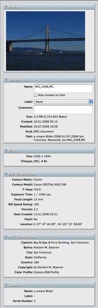 Adobe XMP, EXIF and IPTC meta data